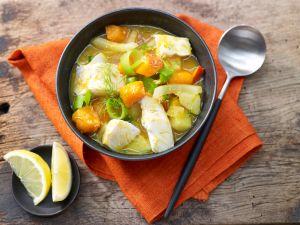 Kabeljau-Kürbis-Suppe